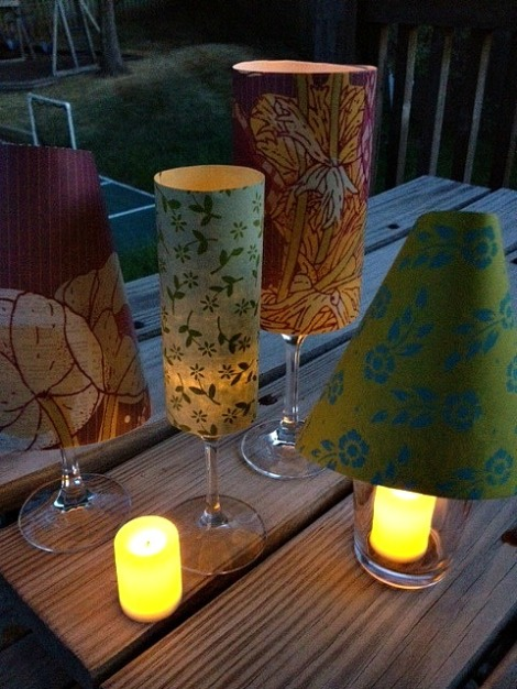 Diy wine glass shades centerpiece